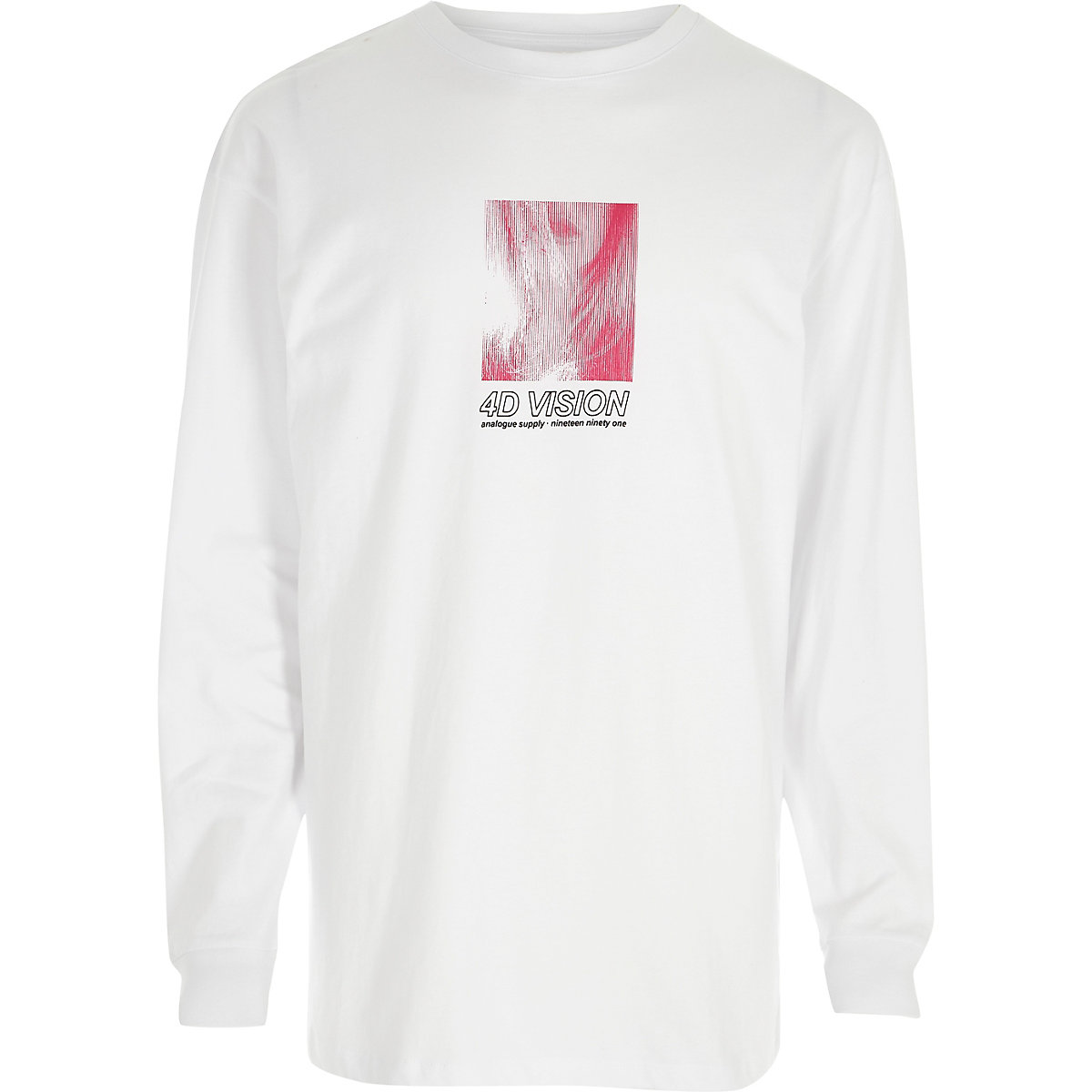 White '4D vision' long sleeve slouch T-shirt