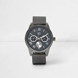 Grey round face mesh strap watch