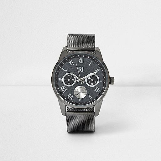 Grey round face mesh strap watch