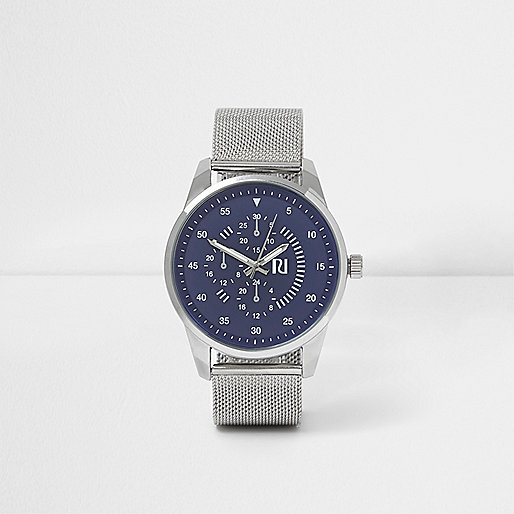 Silver tone round blue face mesh strap watch