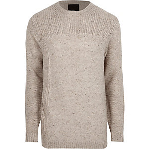 Cream textured knit crew neck sweater