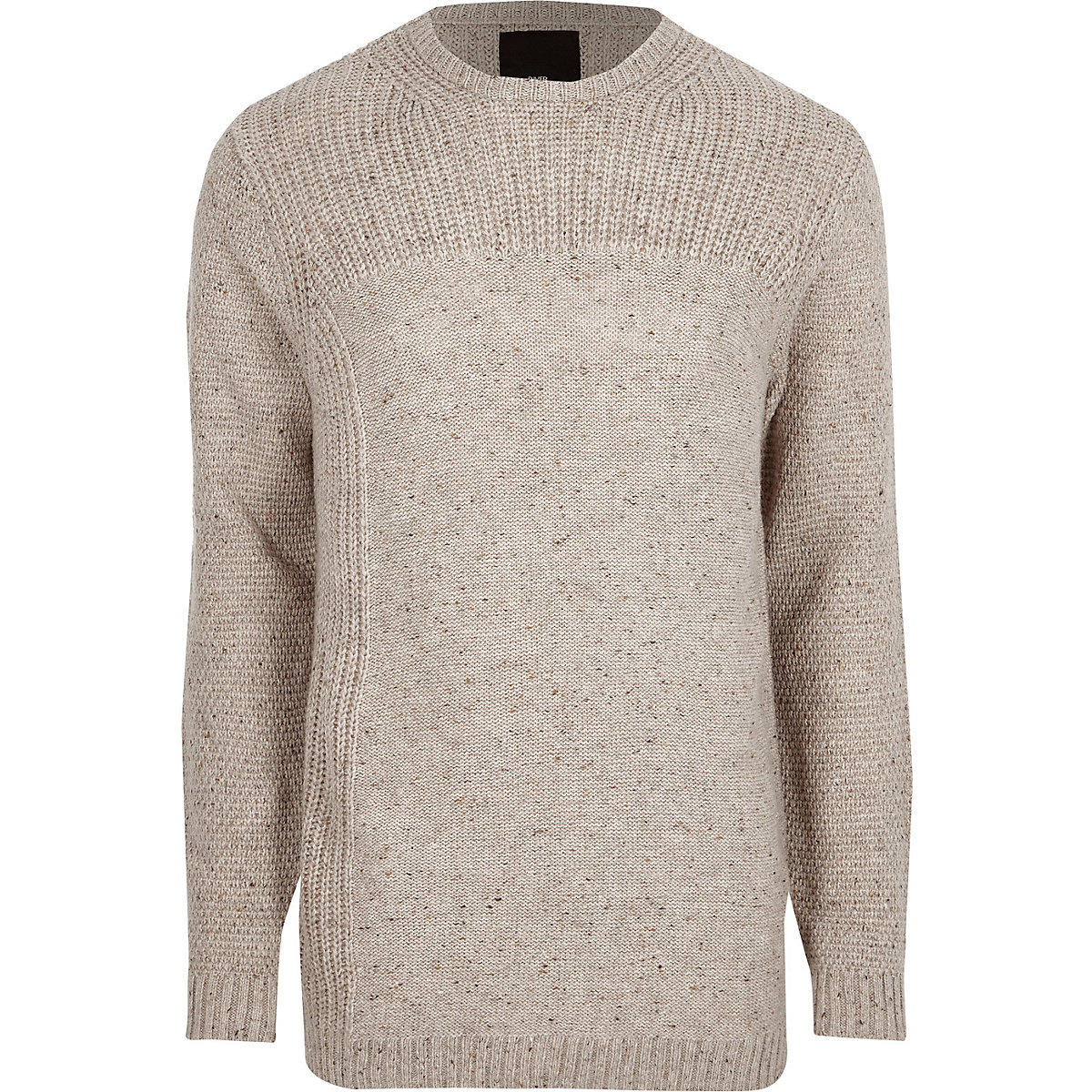 Cream textured knit crew neck jumper