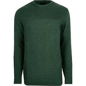 Dunkelgrüner, strukturierter Pullover mit Rundhalsausschnitt