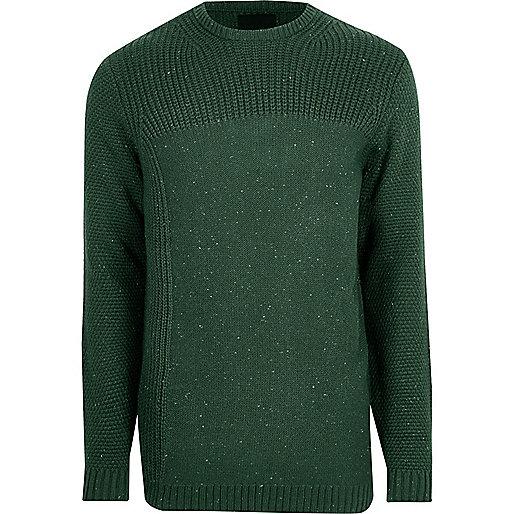 Dark green textured crew neck sweater