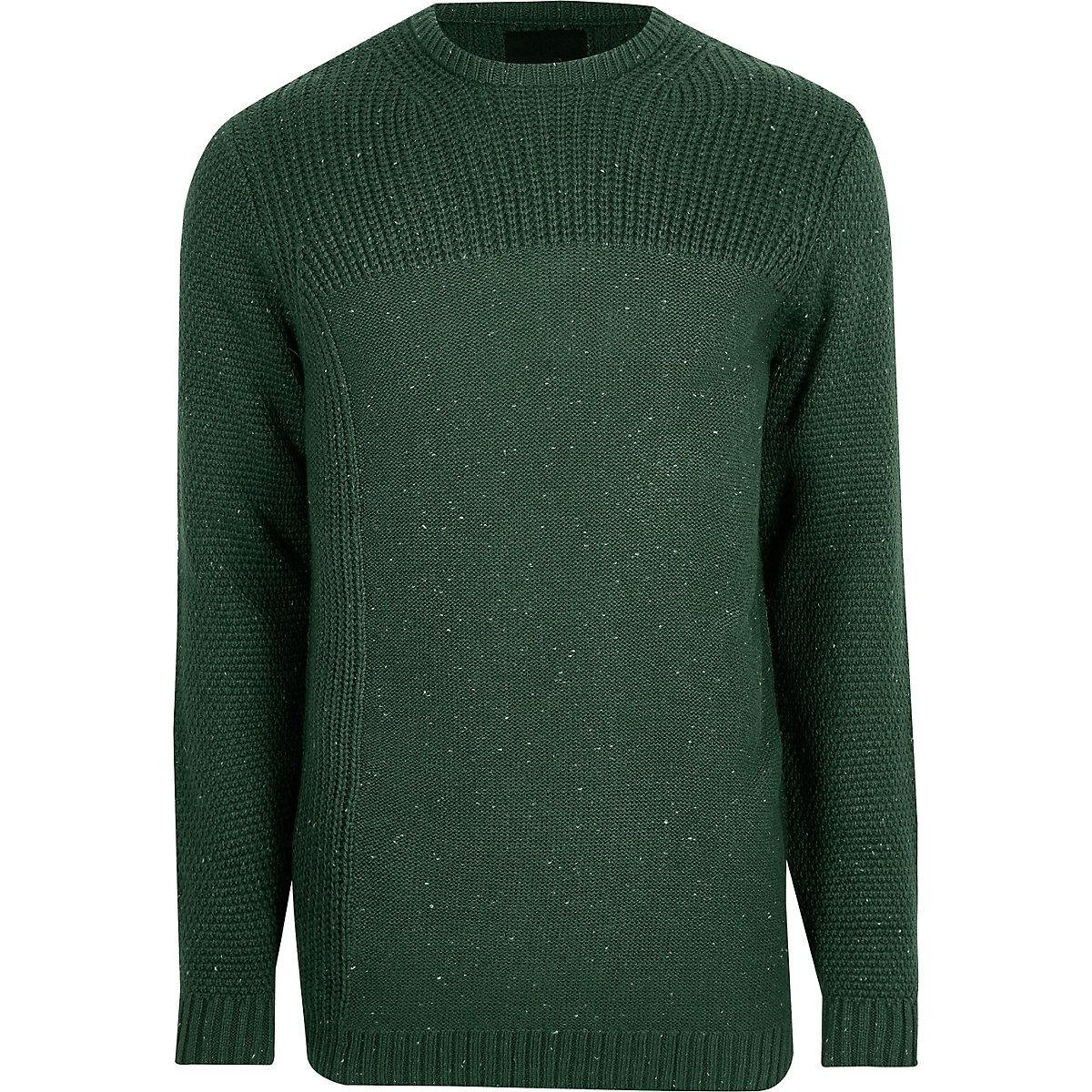 Dark green textured crew neck jumper - Jumpers - Jumpers   Cardigans - men b608ed100