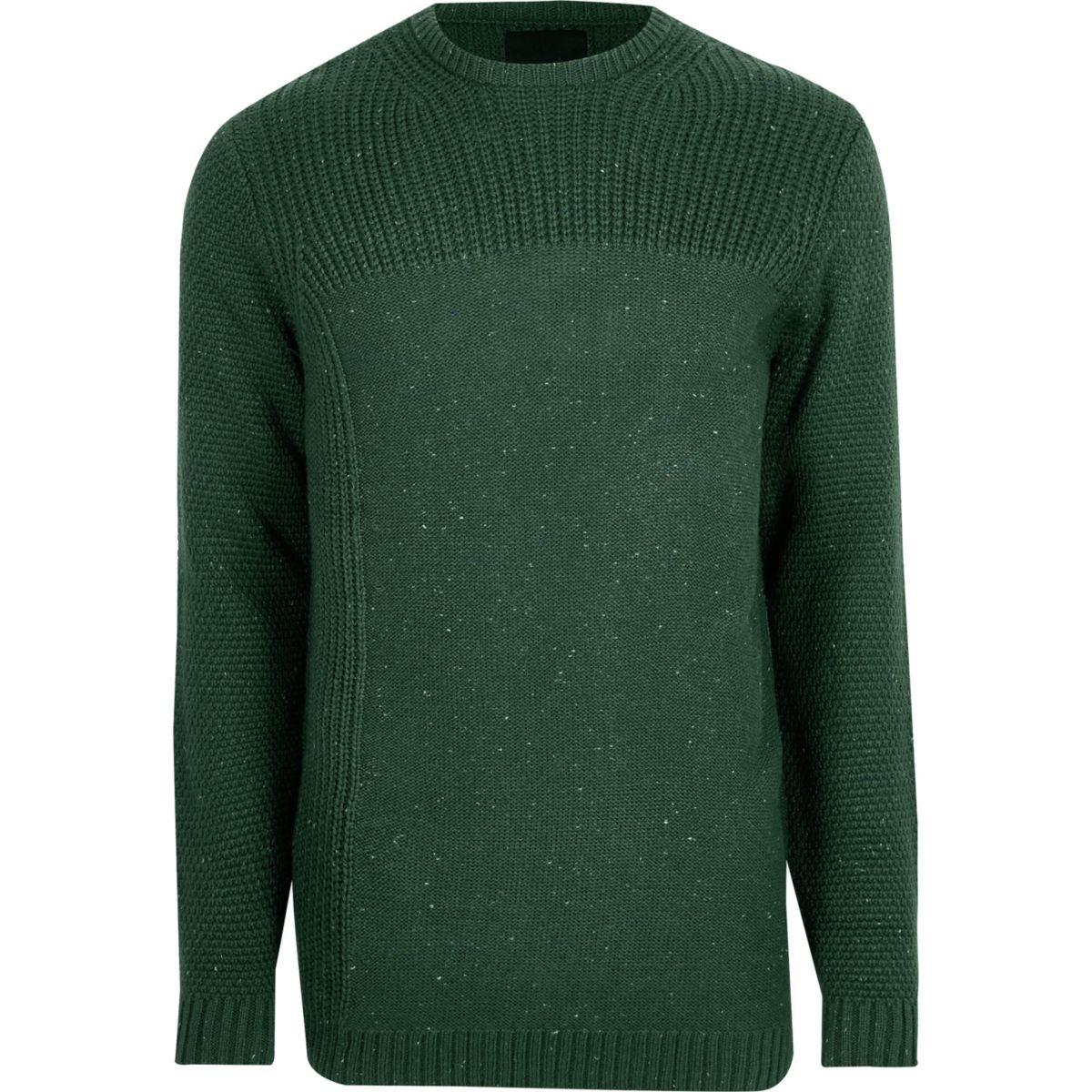 Dark green textured crew neck jumper