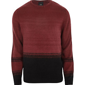 Red and black block knit sweater
