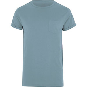 Blue rolled sleeve pocket T-shirt