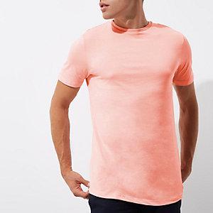 Langes T-Shirt in Pink mit Rundhalsausschnitt