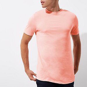 T-shirt long ras du cou rose