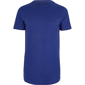 Koningsblauw lang T-shirt met ronde hals