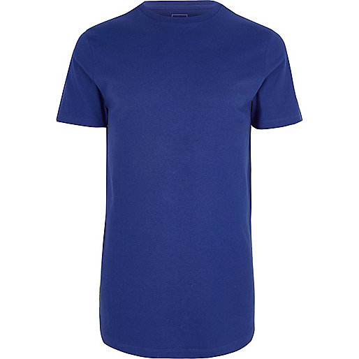 Royal blue longline crew neck T-shirt