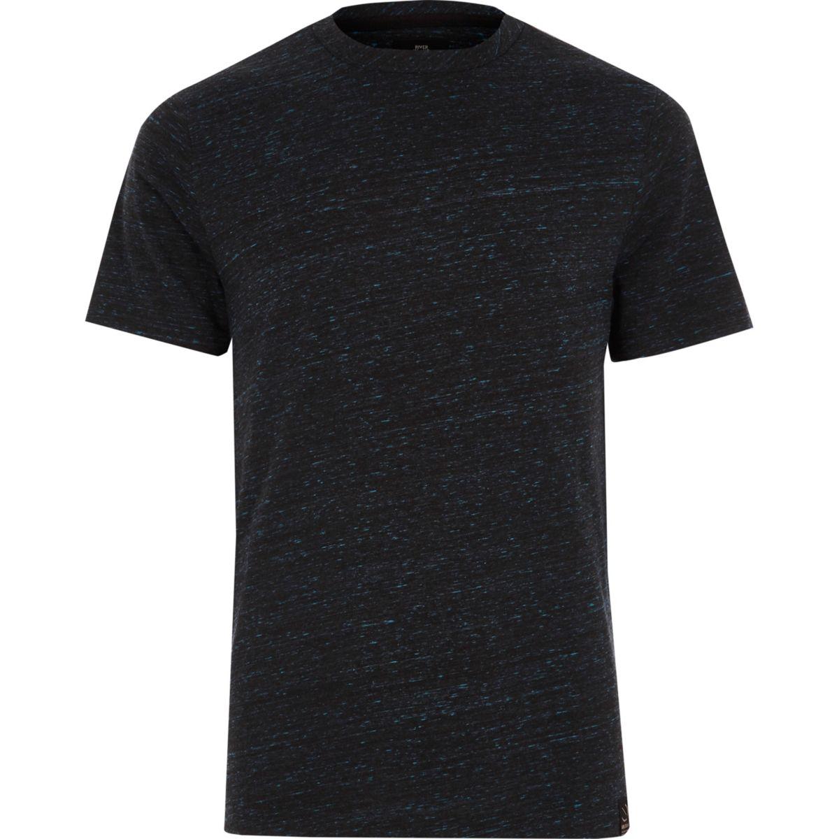 Navy textured slim fit crew neck T-shirt