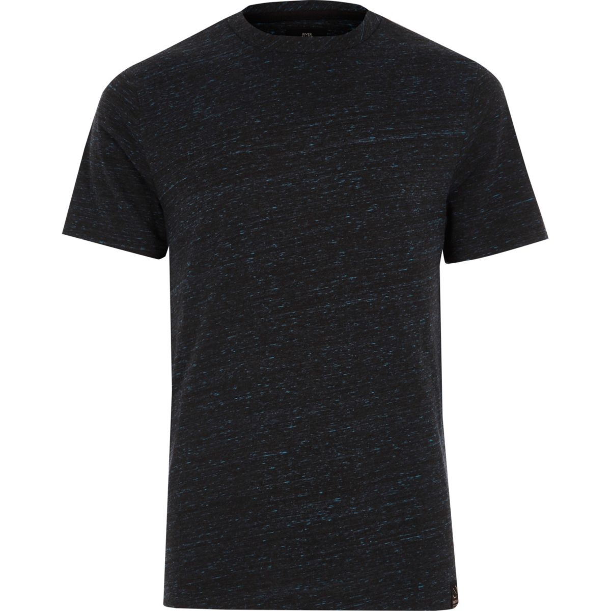 Navy textured slim fit crew neck T-shirt
