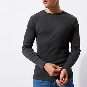 Dark grey long sleeve slim fit ribbed T-shirt