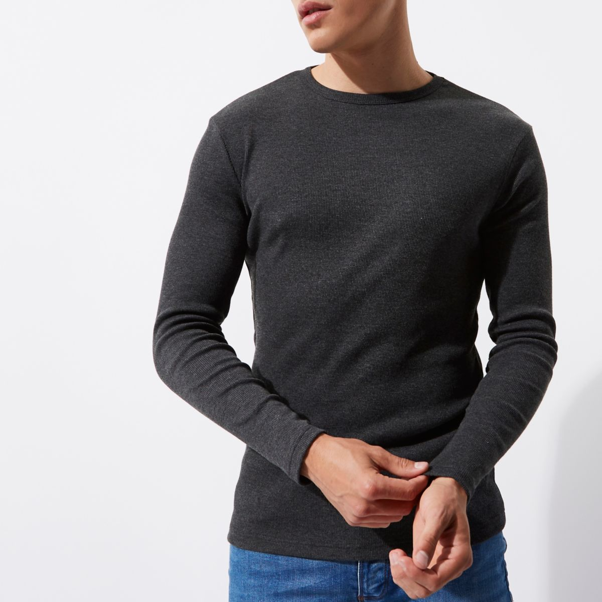 Dark grey long sleeve slim fit ribbed T-shirt - Long Sleeve T ...