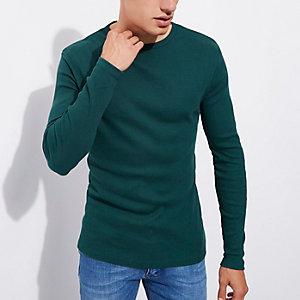 Blauwgroen slim-fit T-shirt met ribbels en lange mouwen