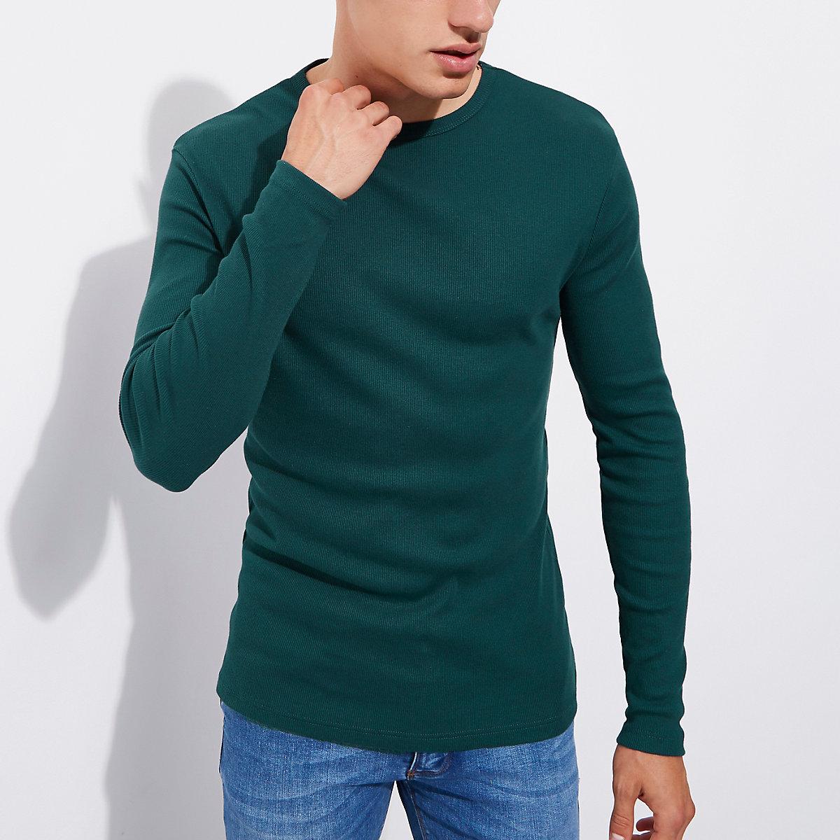 Teal green slim fit long sleeve rib T-shirt