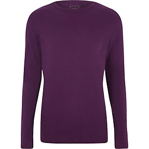 Purple slim fit long sleeve rib T-shirt