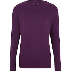 T-shirt slim violet côtelé à manches longues