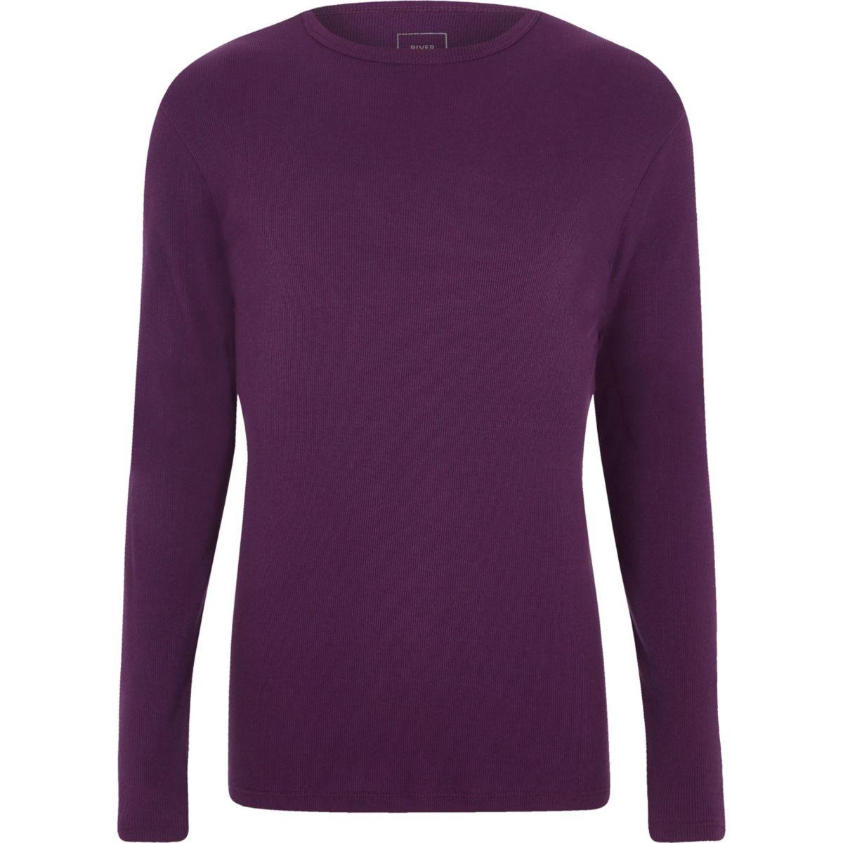 Purple slim fit long sleeve rib T-shirt