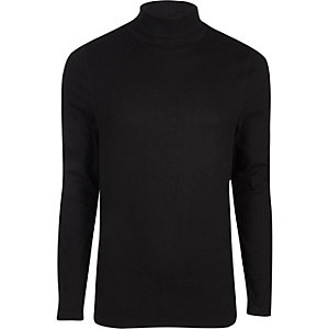 Black long sleeve roll neck muscle T-shirt