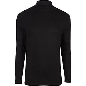 Zwart slim-fit T-shirt met col en lange mouwen