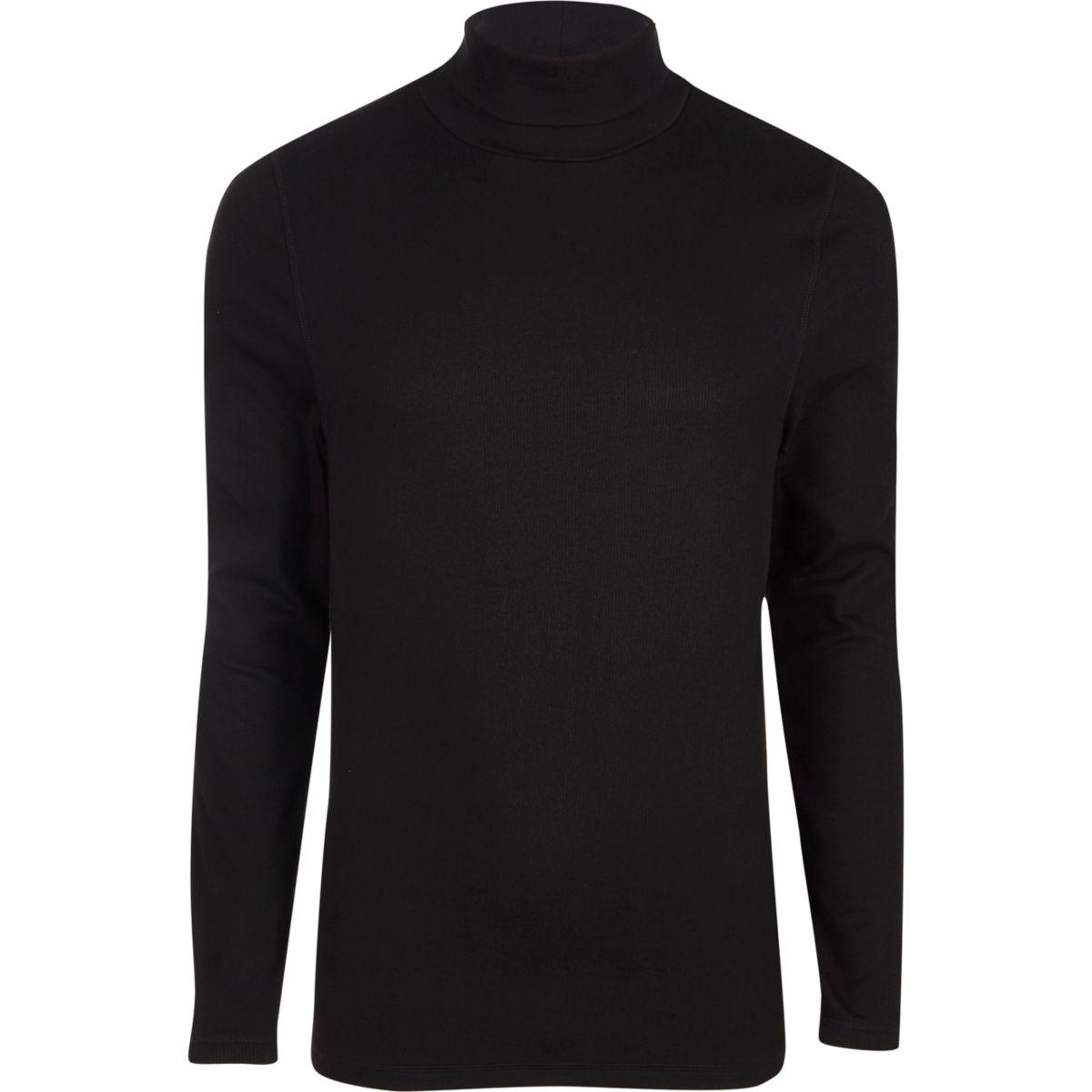 Schwarzes, langärmliges Slim Fit T-Shirt mit Rollkragen