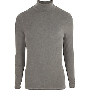 Graues, langärmliges Slim Fit T-Shirt mit Rollkragen