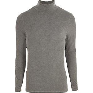 T-shirt slim gris à col montant et manches longues