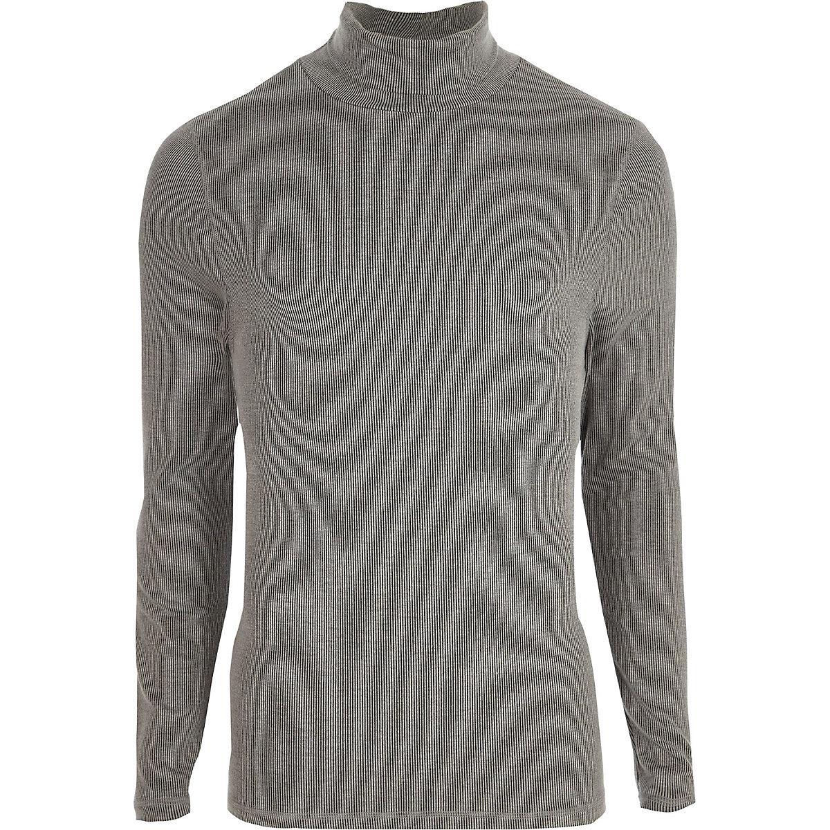 Grey long sleeve roll neck slim fit T-shirt