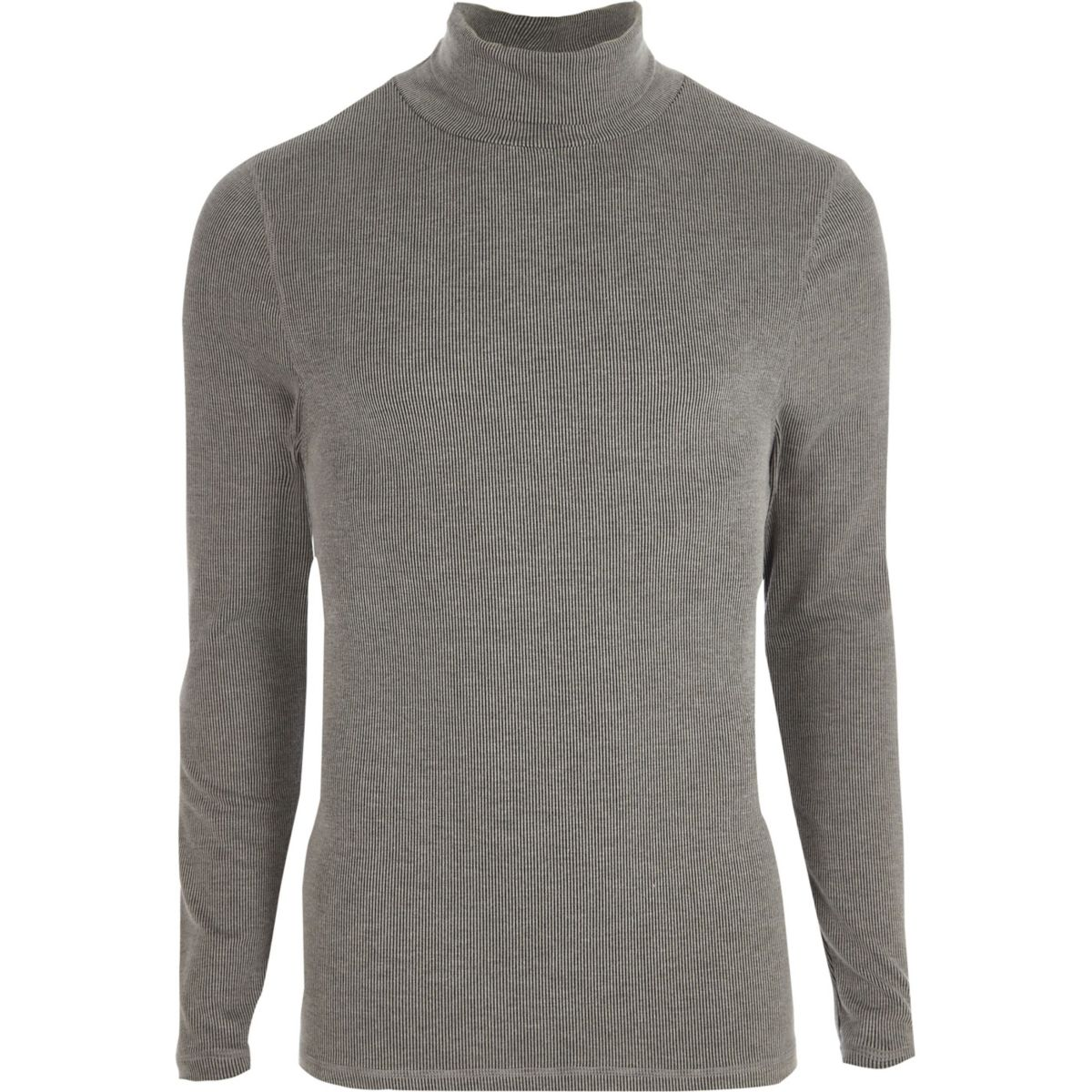 Grey long sleeve roll neck slim fit T-shirt
