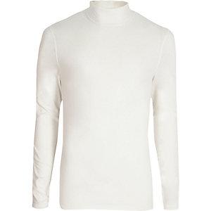 T-shirt slim blanc à col montant et manches longues