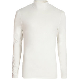 Wit slim-fit T-shirt met col en lange mouwen