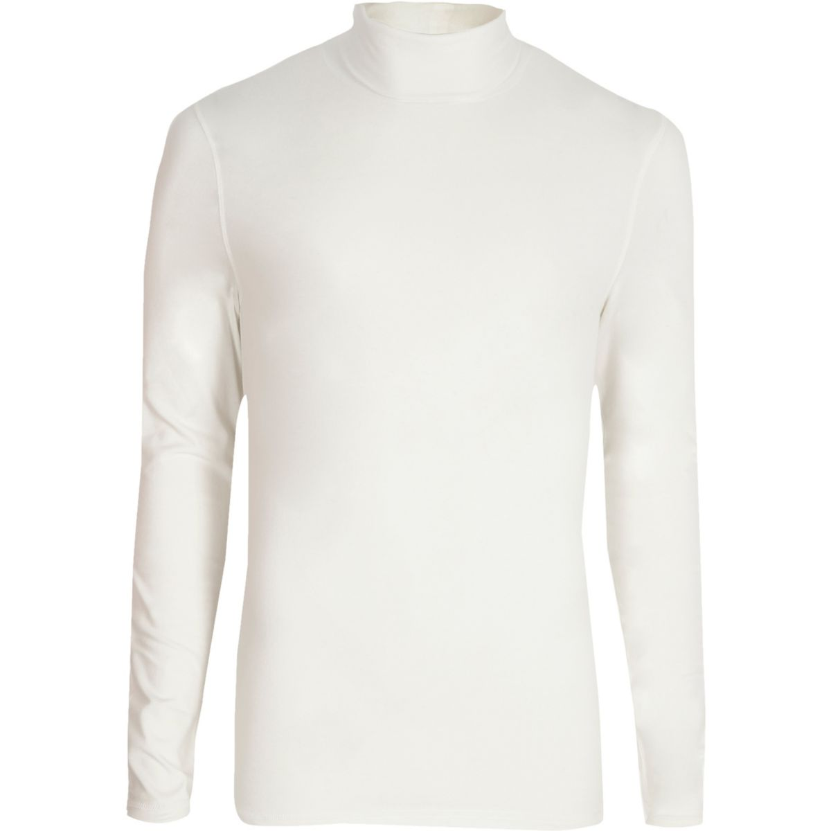 White long sleeve roll neck slim fit T-shirt