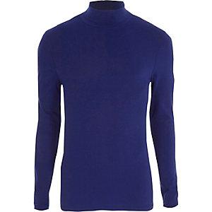 Blauw slim-fit T-shirt met col en lange mouwen
