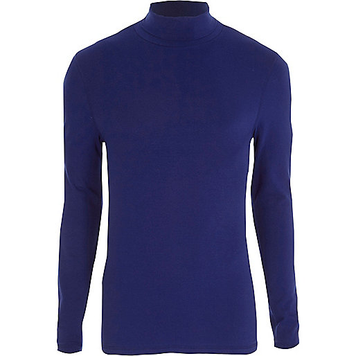 Blue long sleeve roll neck slim fit T-shirt