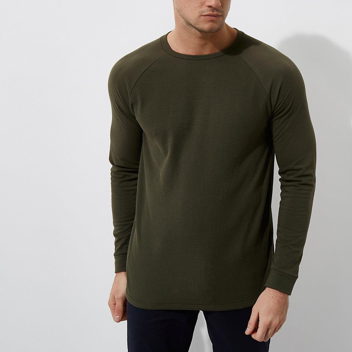 Dark green waffle slim fit raglan sleeve top