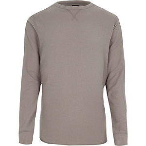 Lichtbruine slim-fit top met lange mouwen en wafeldessin