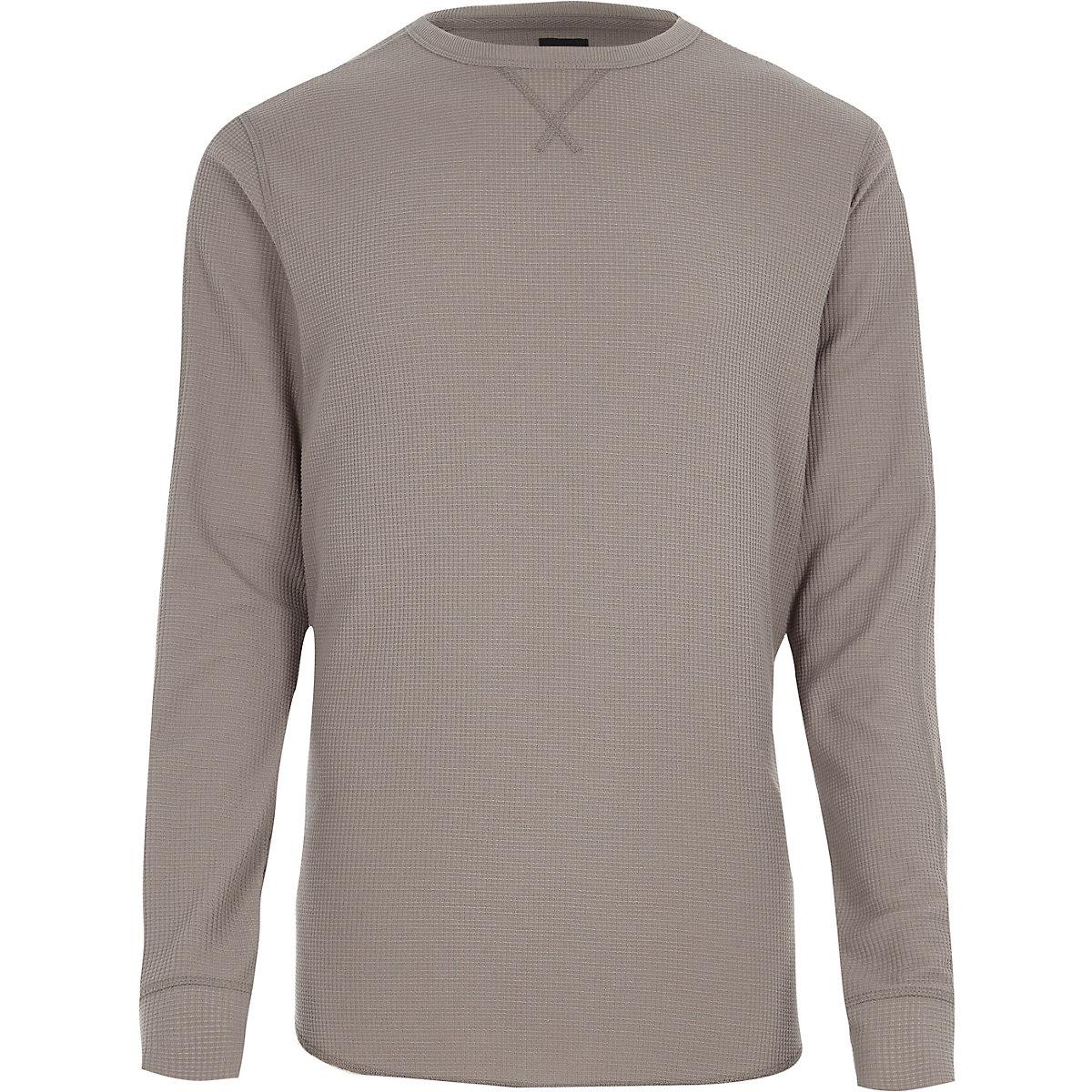 Light brown waffle long sleeve slim fit top
