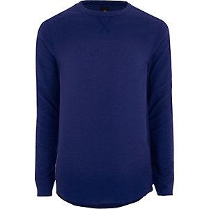 Blauw T-shirt met wafeldessin, lange mouwen en ronde hals