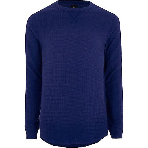 Blue long sleeve waffle crew neck T-shirt