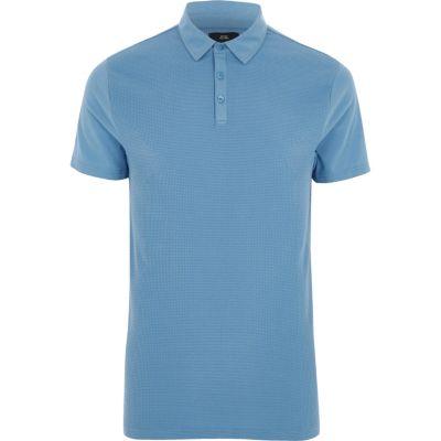 Blue slim fit waffle polo shirt
