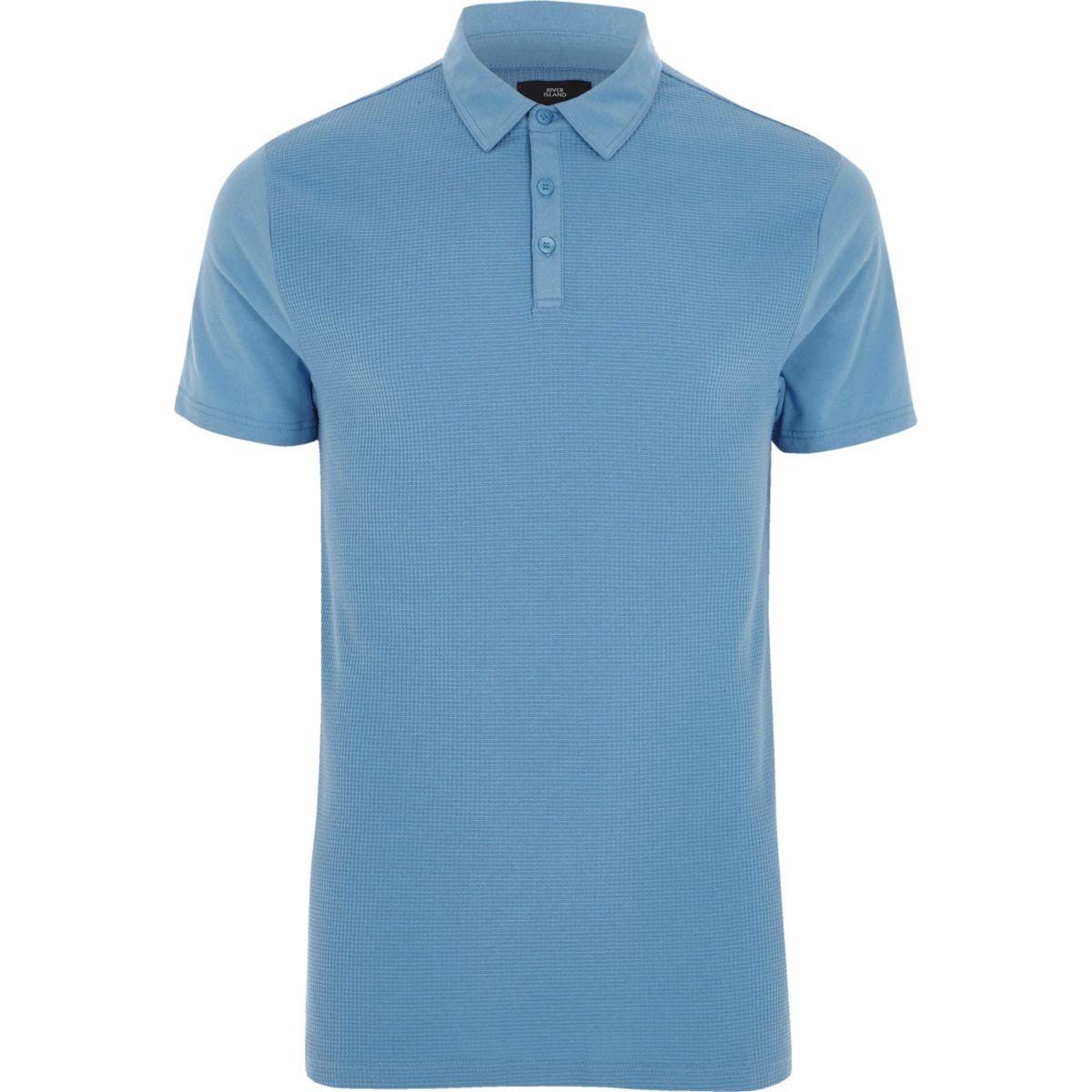 Blaues Slim Fit Poloshirt mit Waffelstruktur