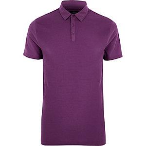Purple slim fit waffle polo shirt