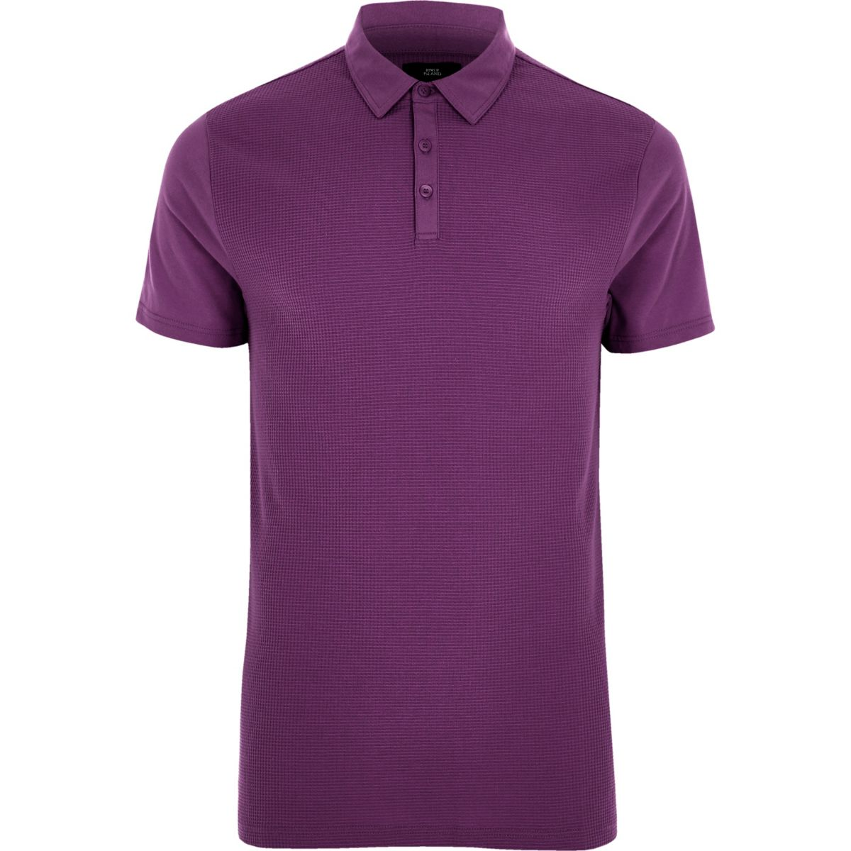 Purple slim fit waffle polo shirt
