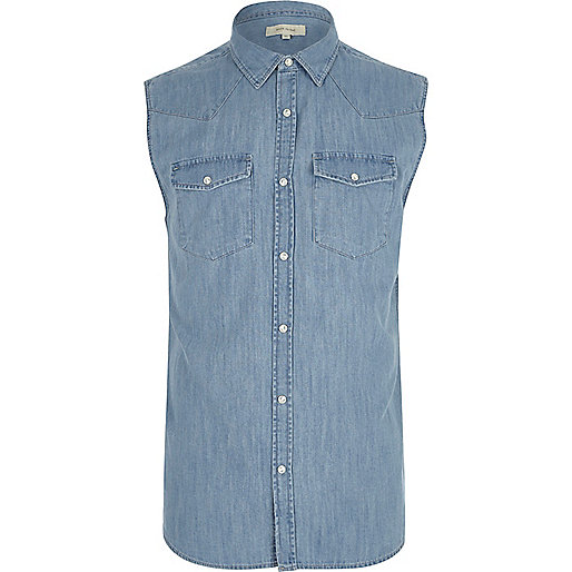 Blue sleeveless denim western shirt