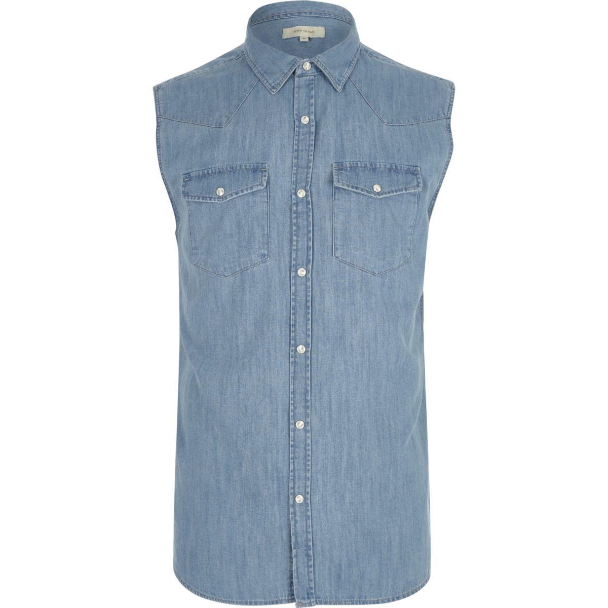 Chemise en jean bleu sans manches style western