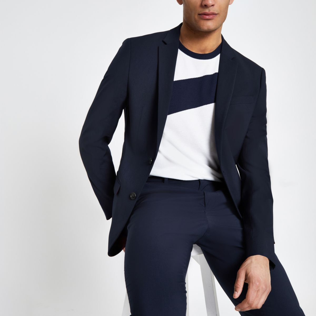 Navy slim fit suit jacket