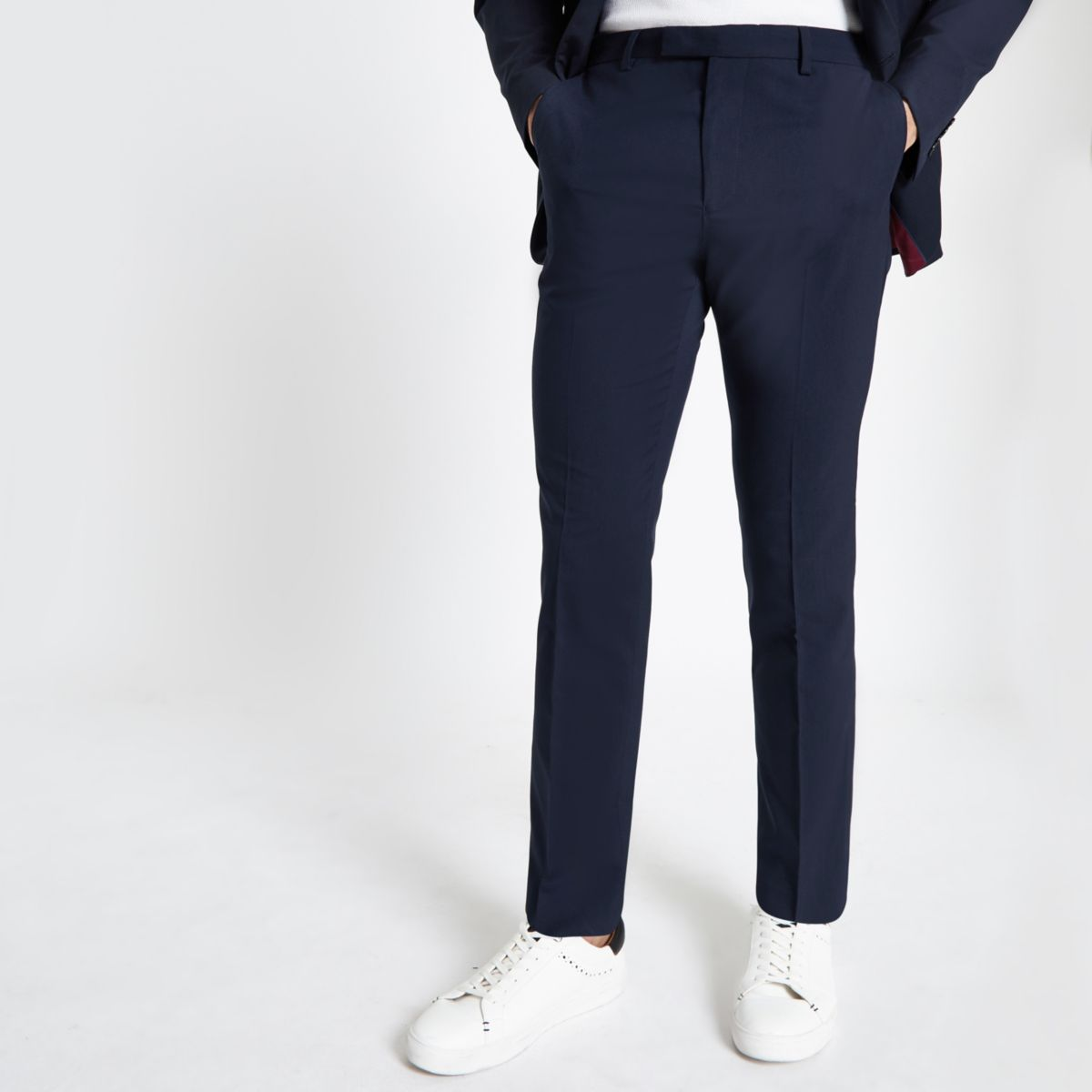 Navy slim fit suit trousers